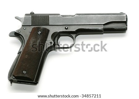 Semi-automatic pistol isolated on a white background