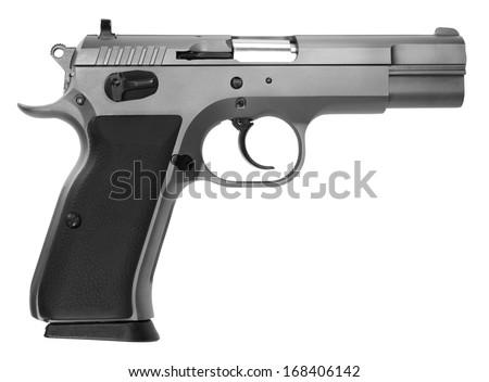 semi-automatic pistol isolated on white background - stock photo