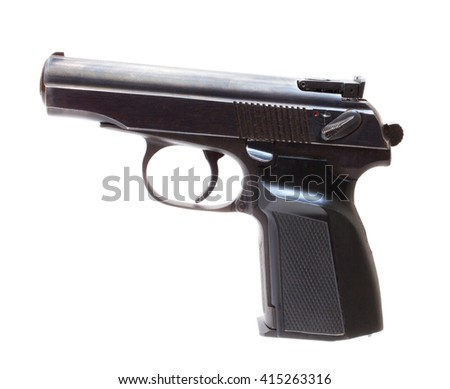 Semi automatic pistol that is isolated on white - stock photo