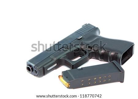 Semi automatic pistol with magazine - stock photo