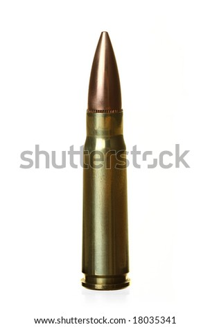 Semi-automatic Rifle Bullet, Isolated Against White Ground