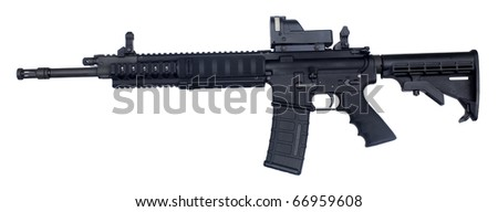 semi automatic rifle known as an AR-15 chambered in .223 - stock photo