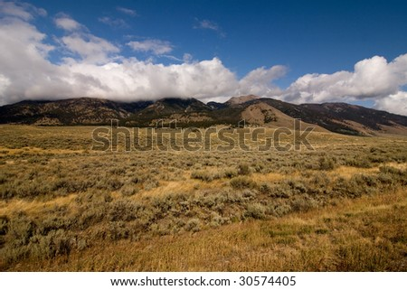 Semi desert and mountains in Montana, USA - stock photo