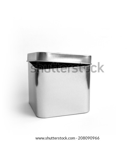 semi-open brushed metal box - stock photo
