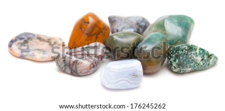 semi-precious stones isolated on white background