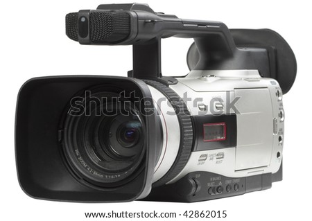 Semi professional video camcorder isolated over white background