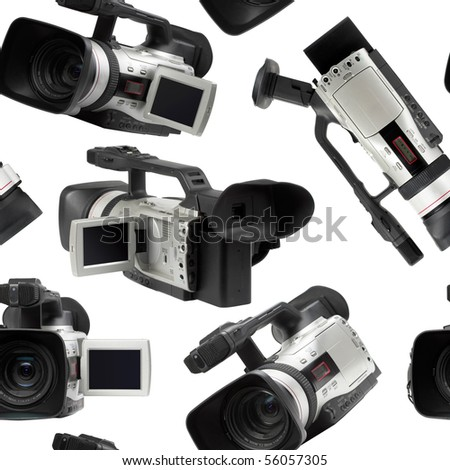 Semi professional video camcorders isolated over white seamless wallpaper background