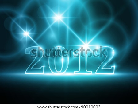 Semi-transparent number 2012 on abstract dark blue background. Light effects give it a soft glow