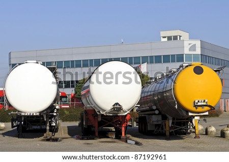 semi truck for fuel and oil transport - stock photo