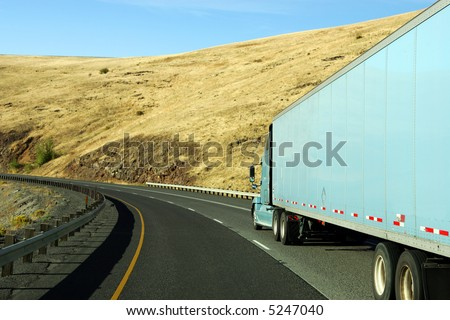 Semi truck going fast on interstate highway