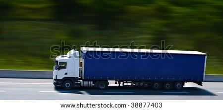 semi truck on highway - stock photo