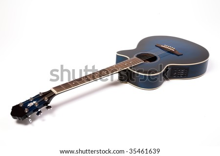 Semiacoustic guitar on white - stock photo