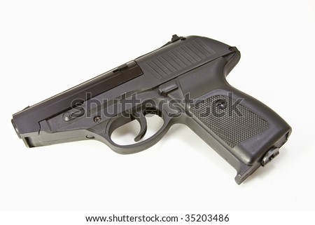 Semiautomatic on its side on a white background - stock photo
