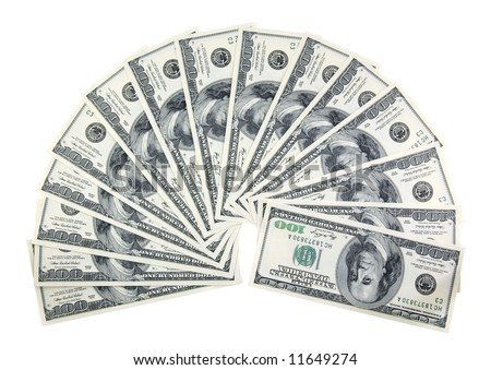 semicircle of one hundred dollars bills