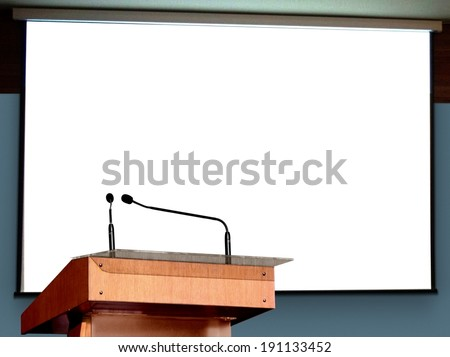 Seminar Podium with Blank Screen - stock photo