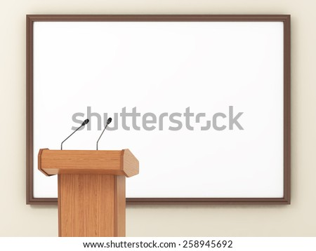 Seminar Podium with Blank Screen. - stock photo