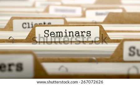 Seminars Concept. Word on Folder Register of Card Index. Selective Focus.