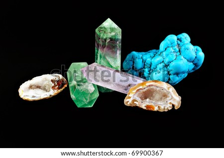 Semiprecious stones on a black background - stock photo