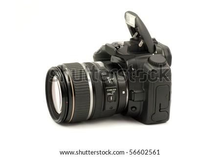 semiprofessional digital camera isolated on white background - stock photo