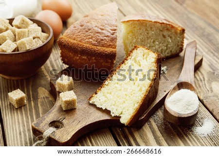 Semolina cake on a cutting board. Mannik