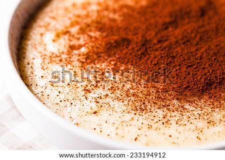 Semolina cream with cocoa powder - sweet breakfast - stock photo