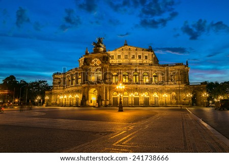 Semper opera in Dresden in beautiful summer night