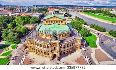 Semperoper is the opera house of the Sachsische Staatsoper Dresden (Saxon State Opera) and the concert hall of the Sachsische Staatskapelle Dresden. Saxony, Germany. - stock photo