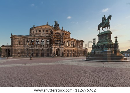 Semperoper (Saxon State Opera) and monument to King John of Saxony, Dresden, Germany - stock photo