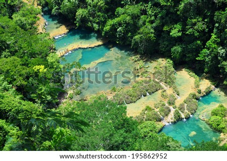 Semuc Champey, Lanquin, Guatemala, Central America - stock photo