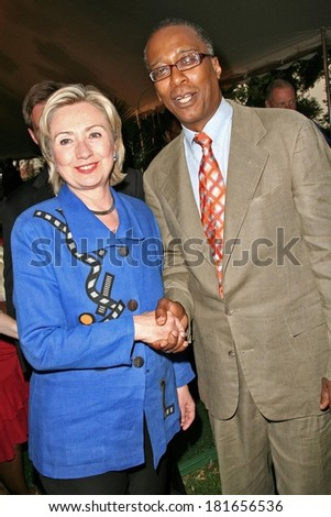 Sen Hillary Rodham Clinton, Joseph Placide in attendance for David Dinkins 80th Birthday Party, Gracie Mansion, New York, NY, July 16, 2007