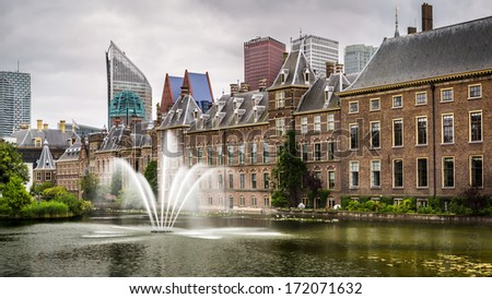 Senate building of the Dutch parliament complex, The Hague, The Netherlands. - stock photo