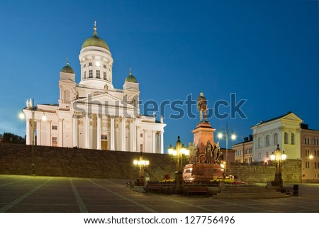 Senate Square and Helsinki Cathedral in Helsinki, Finland. - stock photo