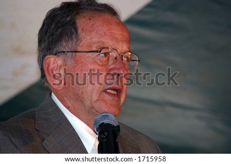 Senator Ted Stevens at the dedication of the new low temperature geothermal plant at the Chena Hot Springs Resort in Alaska - August 20, 2006.