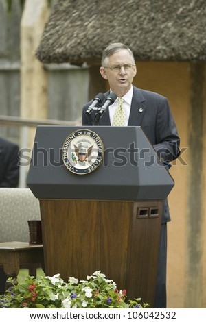 Senator Tommy Norment speaking during ceremony at James Fort, Jamestown Settlement, Virginia on May 4, 2007, the 400th Anniversary of English establishment of 1607 Jamestown Colony, Virginia - stock photo