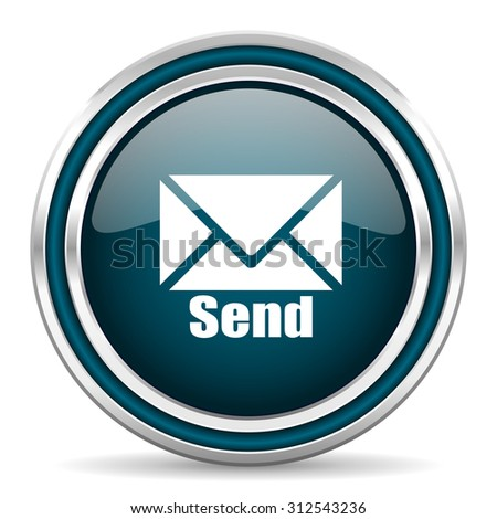 send blue glossy web icon with double chrome border on white background with shadow    - stock photo