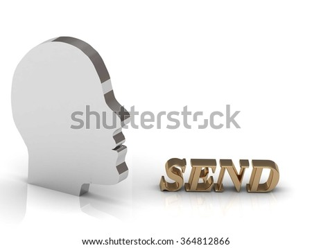 SEND bright color letters and silver head mind on a white background