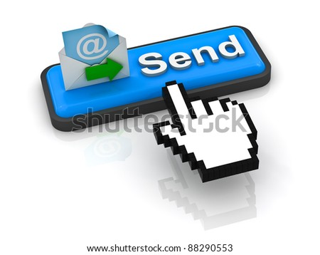 Send e mail button with computer hand cursor - stock photo