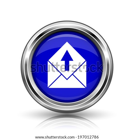 Send e-mail icon. Shiny glossy internet button on white background.