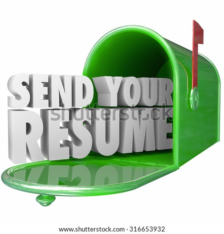 Send Your Resume in 3d letters in a green metal mailbox to apply for an open job position in a new career opportunity - stock photo