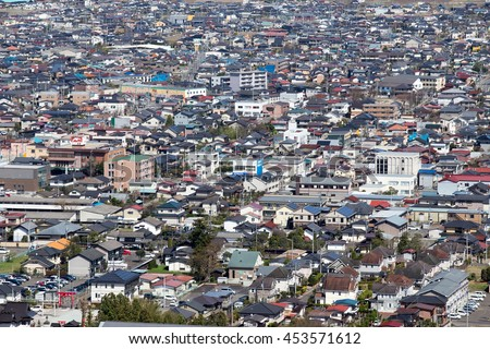 SENDAI, JAPAN - 15 APRIL 2016 : View of Funaoka citty from Funaoka Castle Ruin Park,Japan on April 15, 2016.