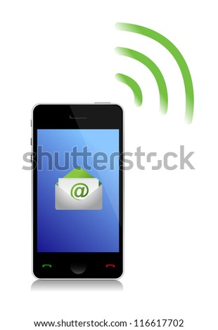 sending an email cel phone illustration design over white - stock photo