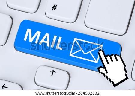 Sending E-Mail mail message on computer keyboard with letter symbol - stock photo