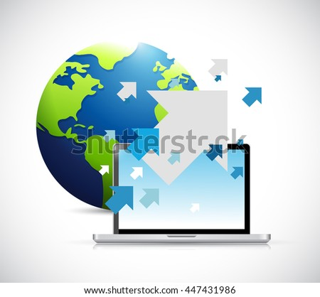 sending info over the globe. computer illustration design graphic - stock photo
