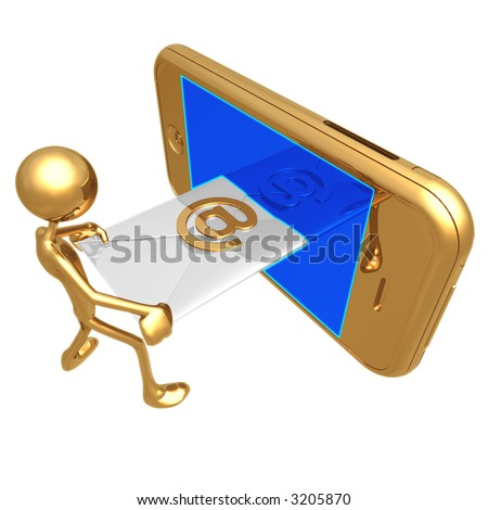 Sending Receiving E-Mail On A Touch Screen Cellphone - stock photo