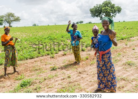 Senegal - August 19: Young, confident, and beautiful African women in the rural areas of Northern Senegal. August 19, 2015 in a rural areas of Senegal - stock photo