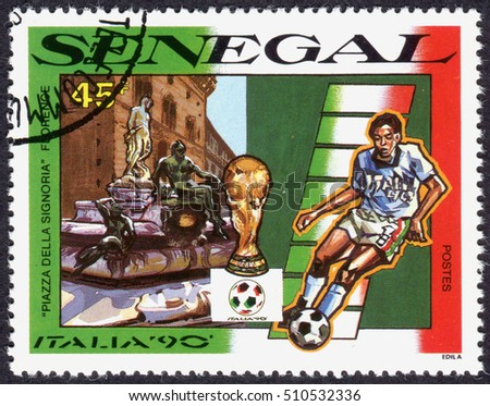 SENEGAL - CIRCA 1990: A stamp printed in Senegal, devoted World Cup Italy 90, shows Piazza della Signoria, Florence, and football player, circa 1990