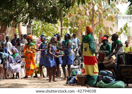 SENEGAL - FEBRUARY 18: Celebration in the streets on the occasion of the presidential elections, February 18, 2007 in Casamance, Senegal. - stock photo