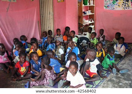 SENEGAL - FEBRUARY 19: Child Carabane Island have a school with the help of French NGOs and donations from tourists on February 19, 2007 in Carabane, Casamance, Senegal - stock photo