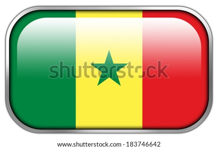 Senegal Flag rectangle glossy button - stock photo