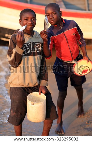 SENGA BAY - MALAWI - AUGUST 6, 2015: Unidentified boys offering fish at the beach on August 6, 2015 in the village Senga Bay, Malawi - stock photo
